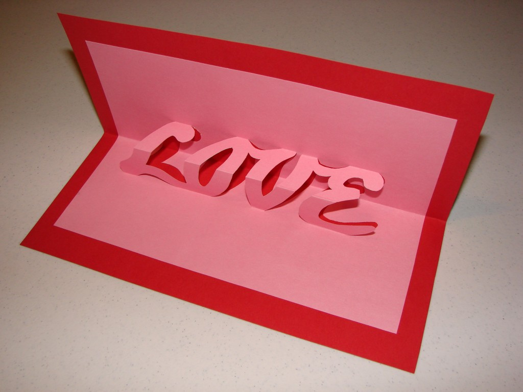 Pop up word card – Pop Up Valentines Day Card