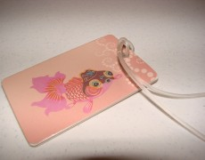 Recycled gift card luggage tag